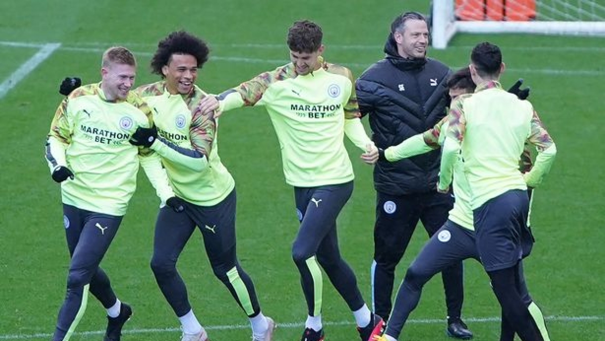 Man CIty players (from left) Kevin de Bruyne, Leroy Sane and Jon Stones training ahead of UCL round 16 clash against Real Madrid.