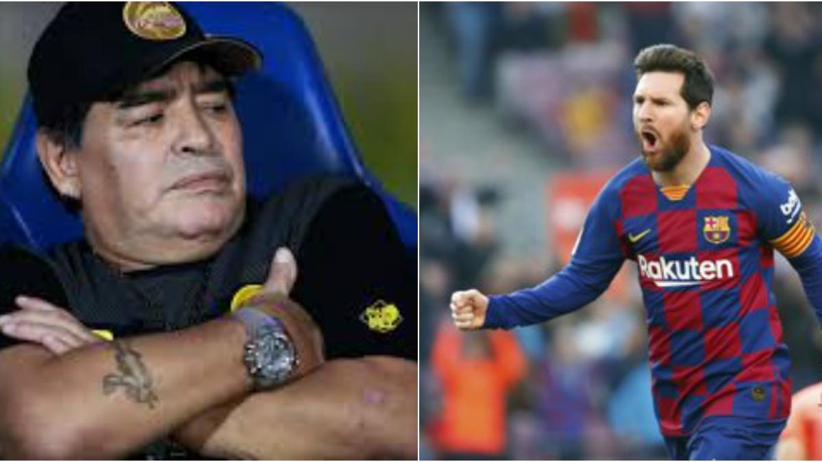 Argentina legendary footballer Diego Maradona (L), Barcelona captain Lionel Messi (centre) and Napoli coach  Gennaro Gattuso.