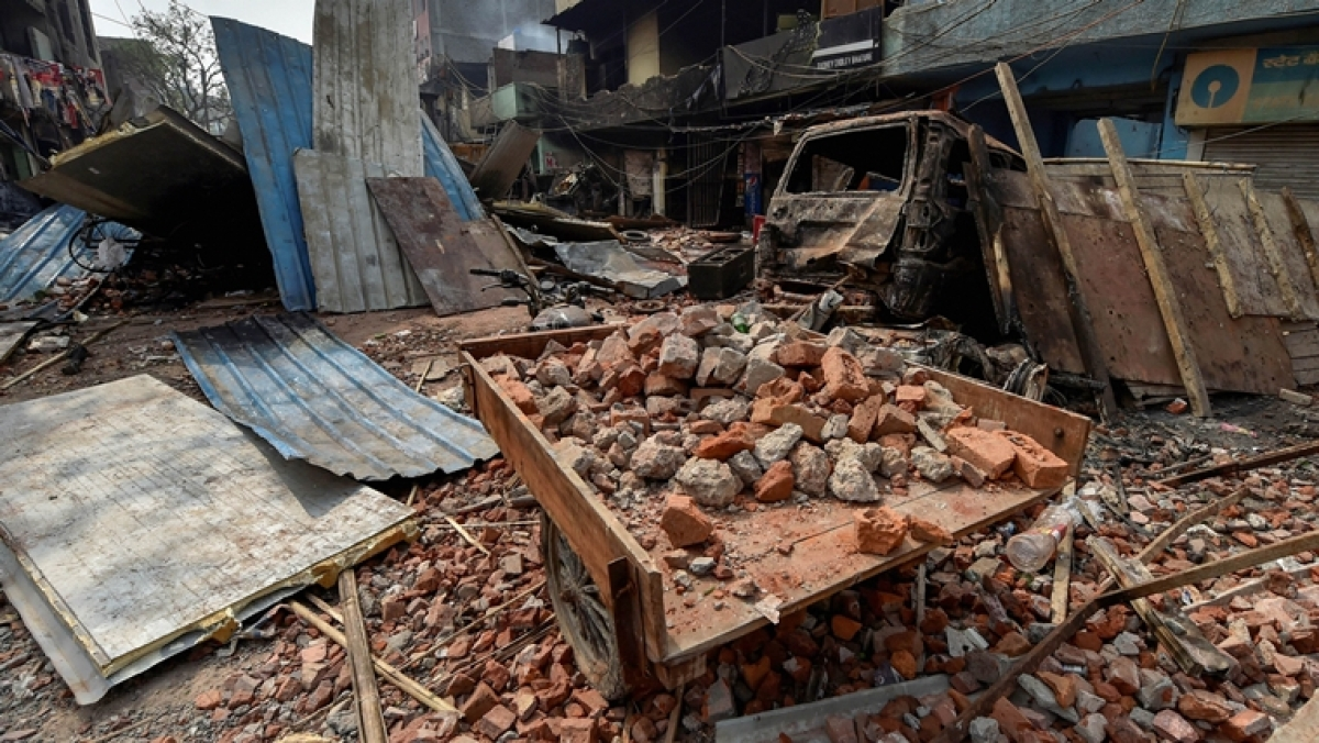 Brick-bats are seen amid vandalised properties in Bhagirathi Vihar area of the riot-affected north east Delhi, Wednesday, Feb. 26, 2020.