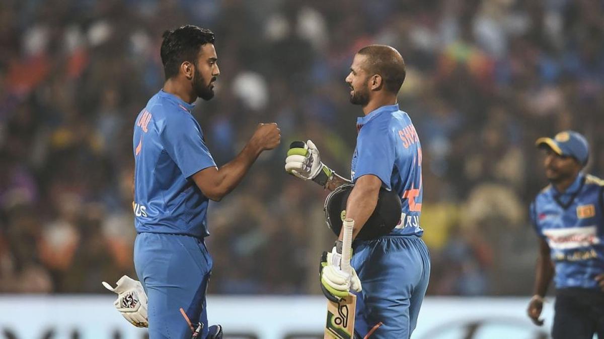 KL Rahul (L) and Shikhar Dhawan (R)