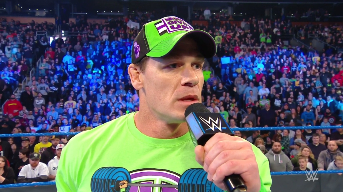 "John Cena returns on Friday Night Smackdown, accepts ""The Fiend"" Bray Wyatt's WrestleMania challenge"