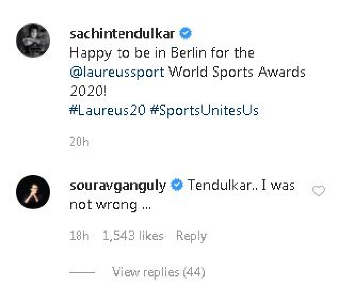 'I was not wrong': Sourav Ganguly makes cheeky comment on Tendulkar's Instagram post