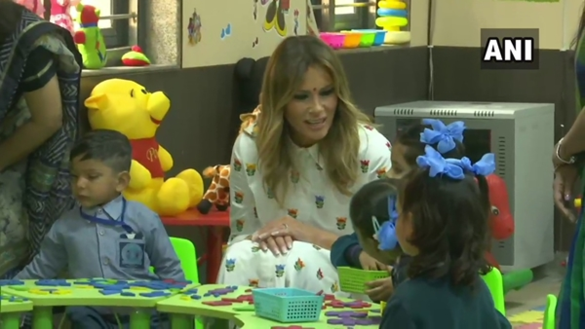 Melania Trump attends 'Happiness Class' during her visit to Delhi govt school