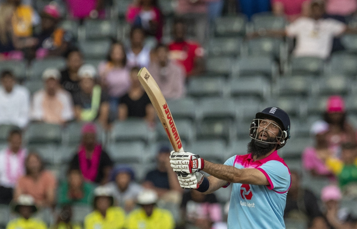 England's batsman Moeen Ali watches his shot to score a winning run during the 3rd One Day International cricket match between South Africa and England at Wanderers stadium in Johannesburg, South Africa on Sunday.