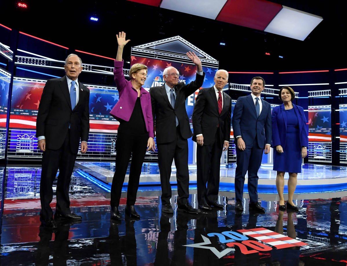 Democratic presidential candidates (L-R) former New York City Mayor Mike Bloomberg, Sen. Elizabeth Warren (D-MA), Sen. Bernie Sanders (I-VT), former Vice President Joe Biden, former South Bend, Indiana Mayor Pete Buttigieg and Sen.