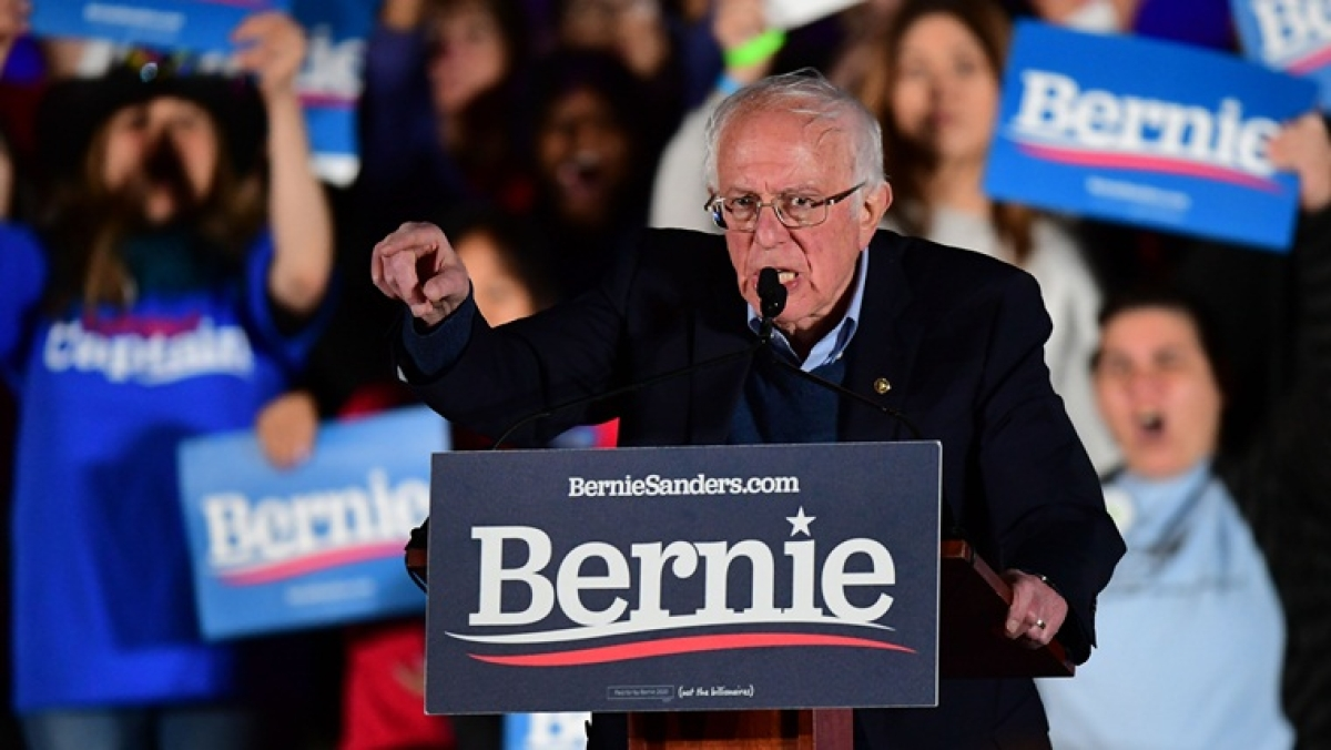 Democratic presidential hopeful Vermont Senator Bernie Sanders speaks during a Get Out to Caucus Rally at Springs Preserve Amphitheater in Las Vegas, Nevada, on February 21