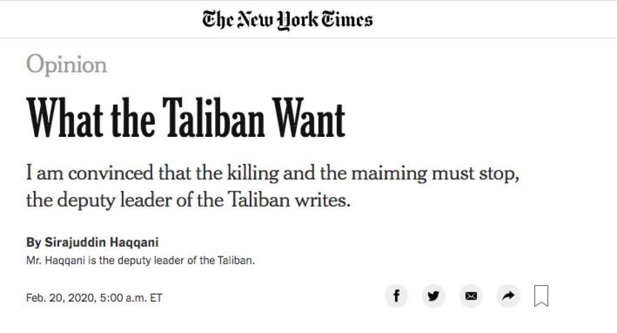 'Shame Osama died before becoming NYT's editors': Twitter trolls New York Times for publishing Taliban deputy leaders' piece