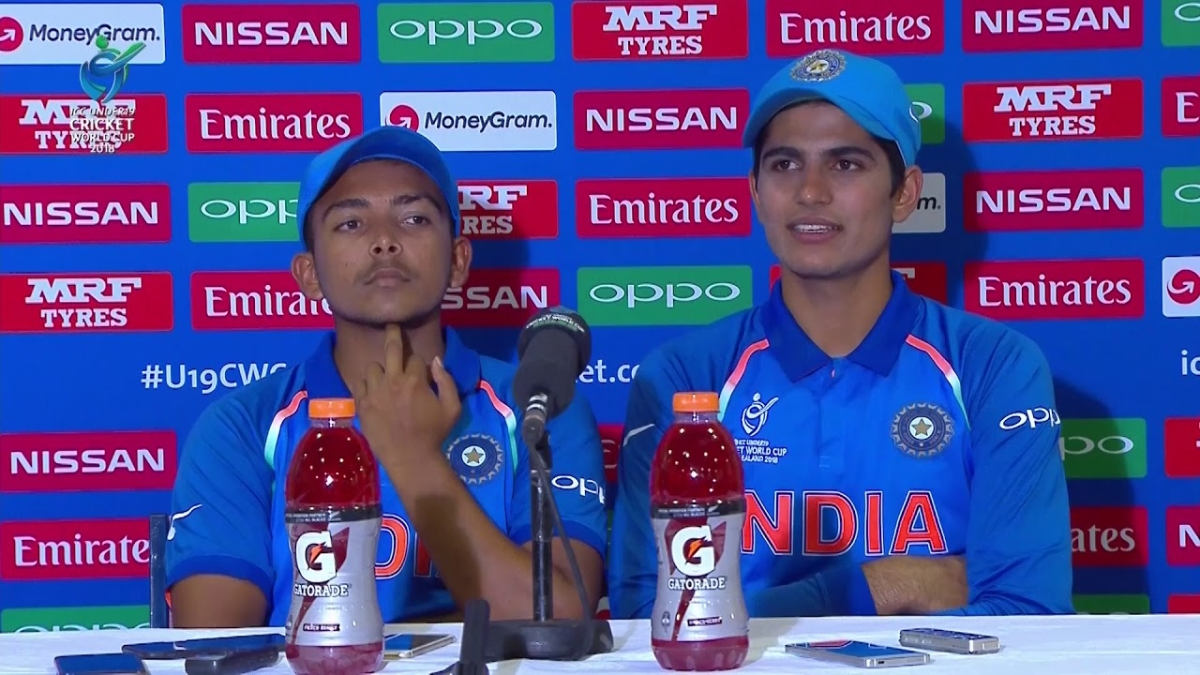 Prithvi Shaw and Shubman Gill during 2018 U19 World Cup