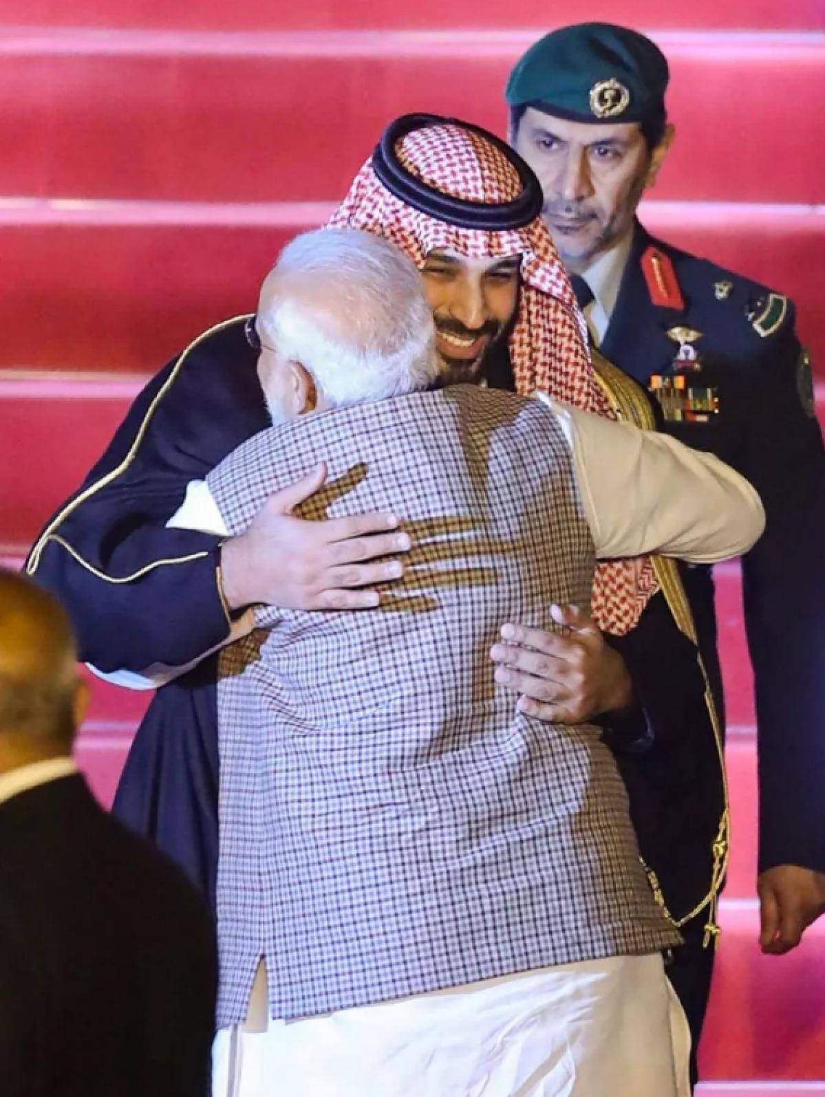 Narendra Modi greets the Crown Prince of Saudi Arabia, Mohammed bin Salman in New Delhi on 19 February 2019