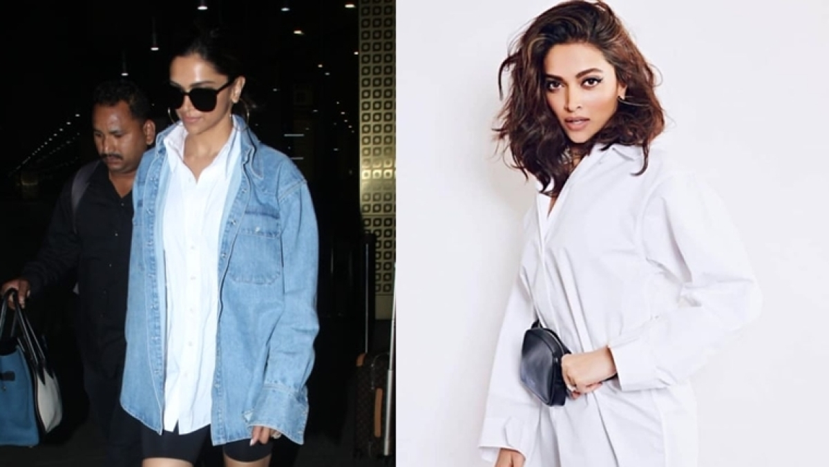 Deepika Padukone recycles her U2 concert outfit and Cannes denim jacket for a stunning airport look