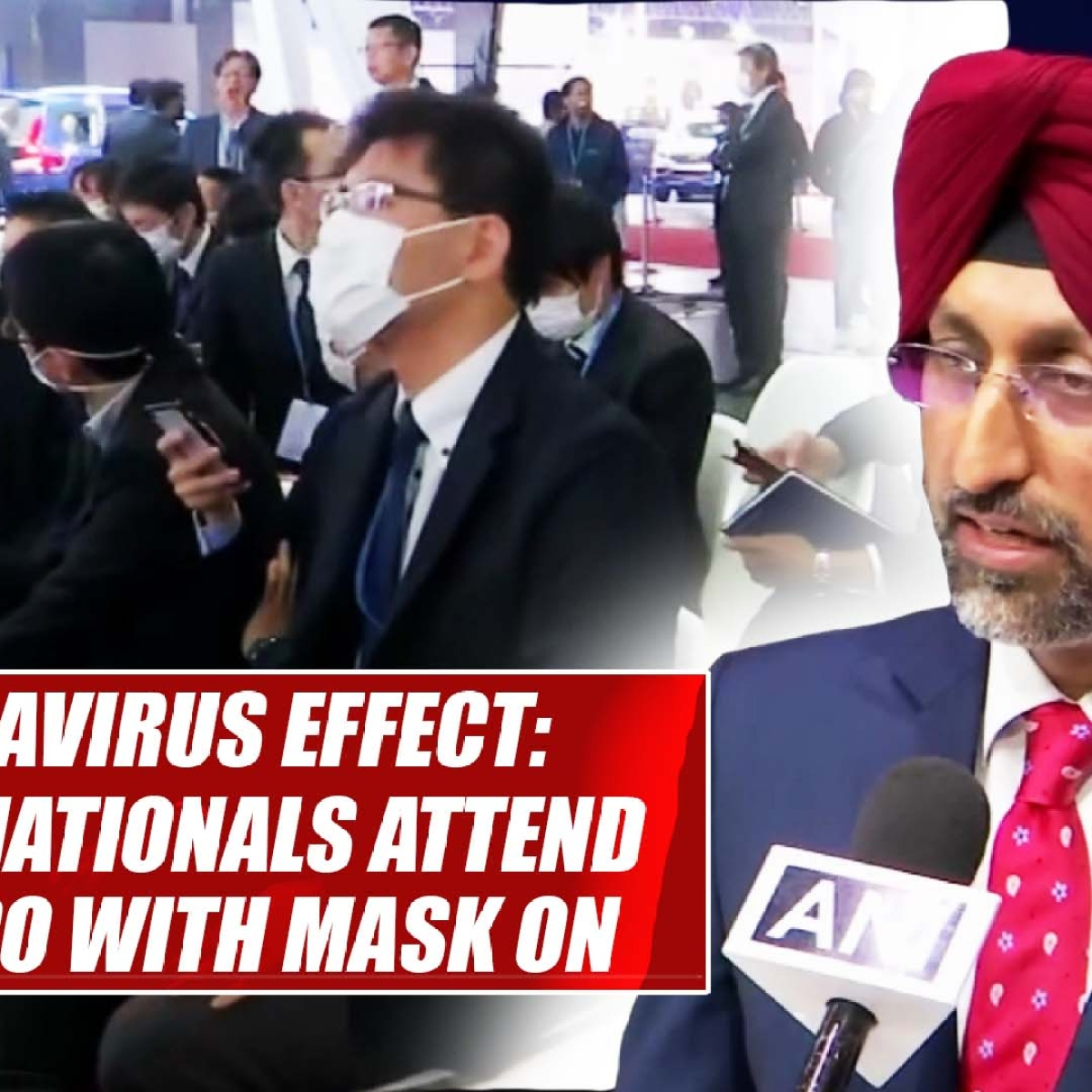 Coronavirus effect: Chinese nationals attend Auto Expo with mask on