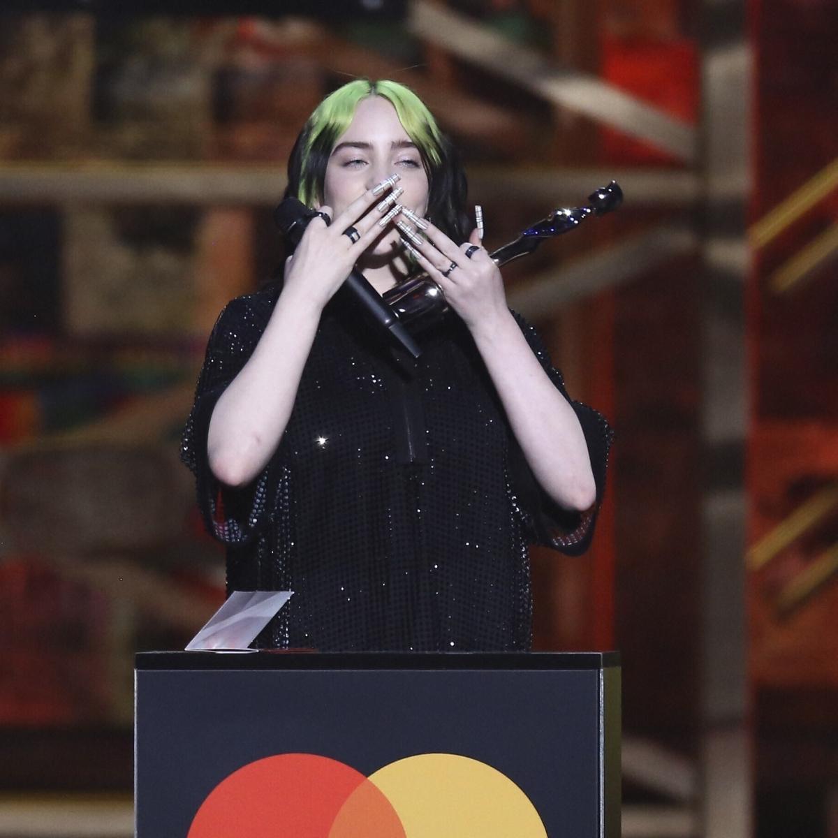 Billie Eilish breaks down at 2020 BRIT Awards