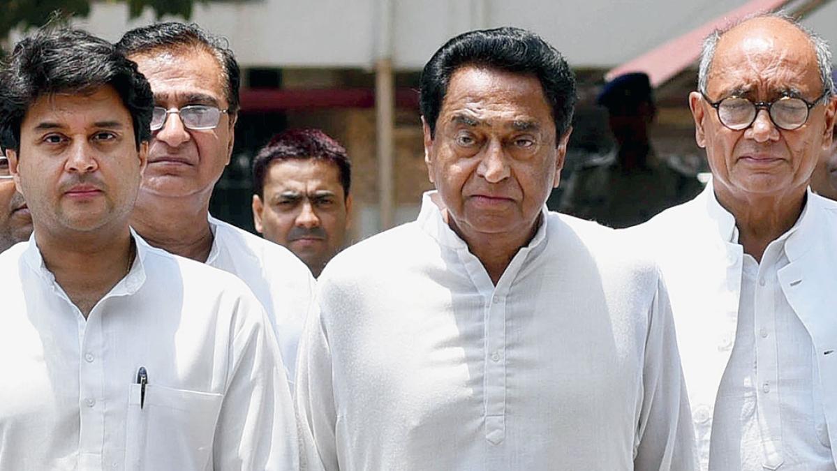 Kamal Nath (C), Jyotiraditya Scindia, Digvijaya Singh (R).