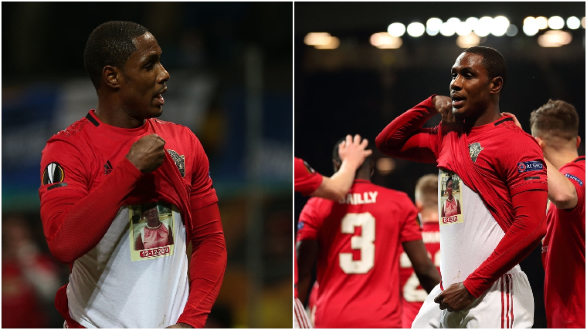 Manchester United's Odion Ighalo celebrating after scoring first goal for the club