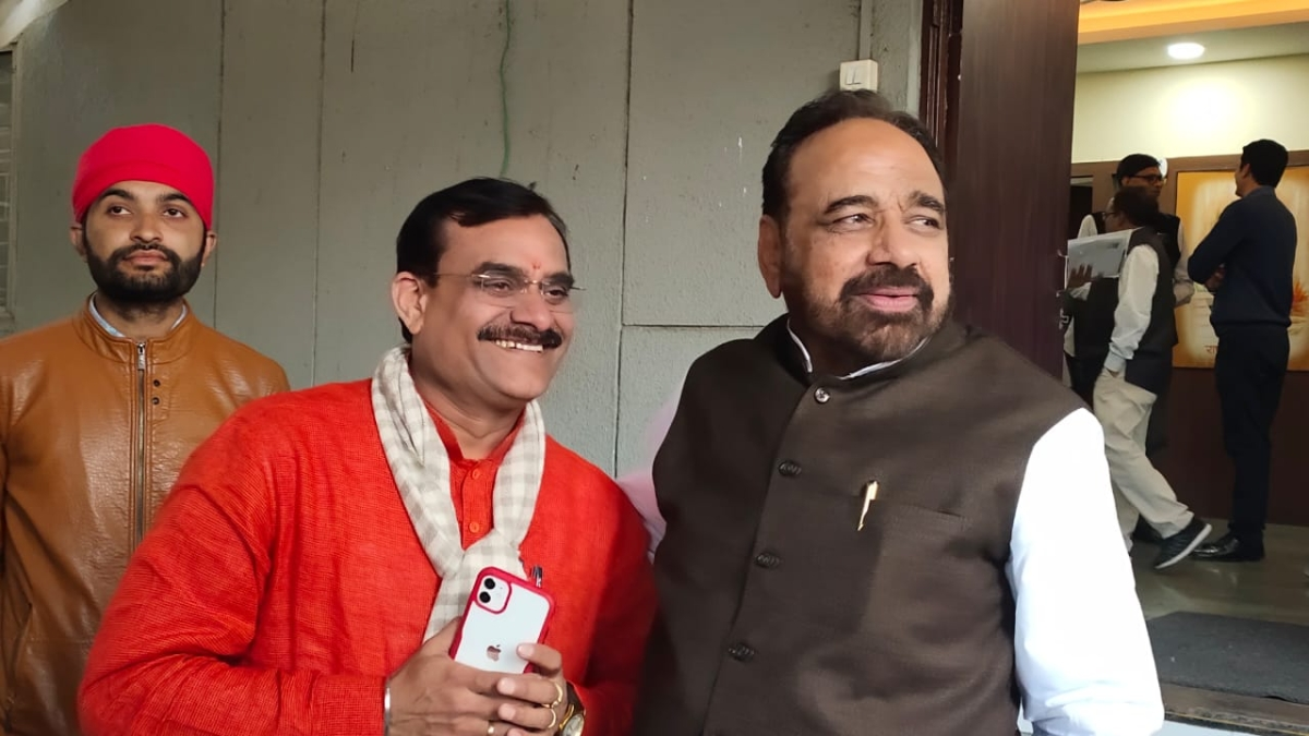 Newly appointed BJP President VD Sharma (in red Kurta)