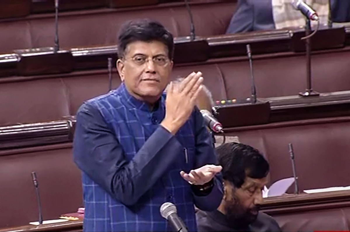Railway Minister Piyush Goyal speaks in the Rajya Sabha during the Budget Session of Parliament in New Delhi on Friday.