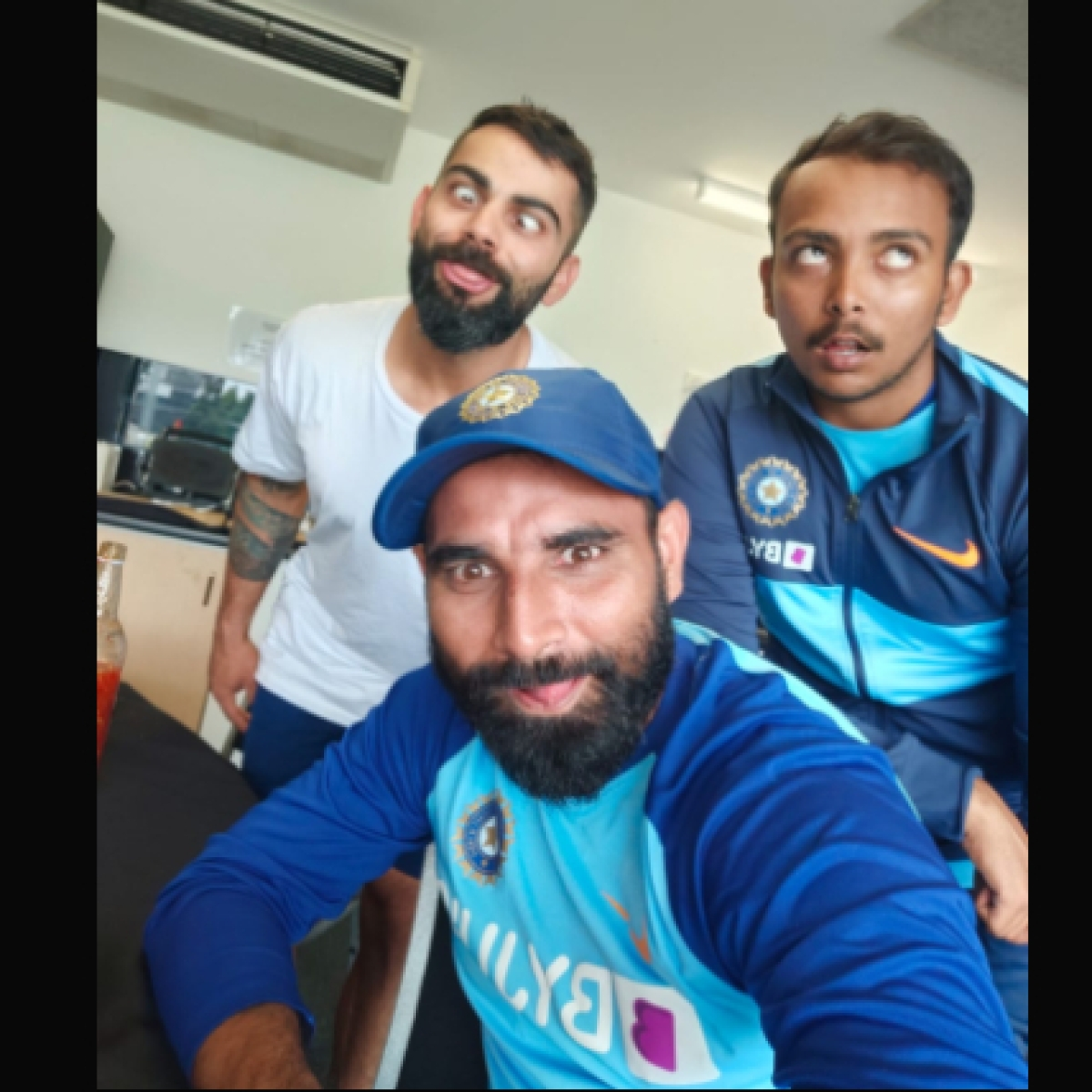'Naya post sundar dost': Captain Kohli shares goofy pic with Mohammed Shami and Prithvi Shaw