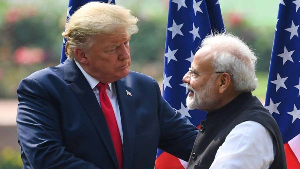 US President Donald Trump shakes hands with India's Prime Minister Narendra Modi during a joint press conference at Hyderabad House in New Delhi on February 25, 2020
