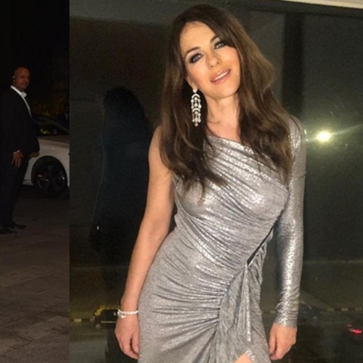 Elizabeth Hurley spotted at Armaan Jain's wedding reception in a sexy silver bodycon dress