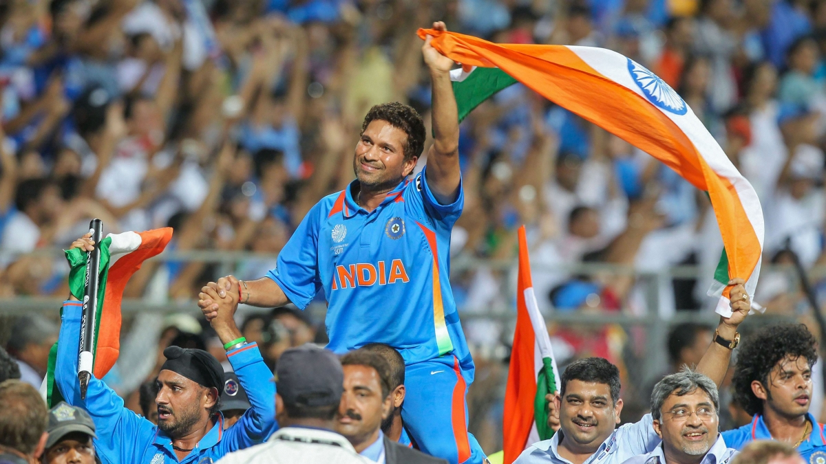 Tendulkar being carried on the shoulders of his teammates after India's World Cup triumph at home in 2011