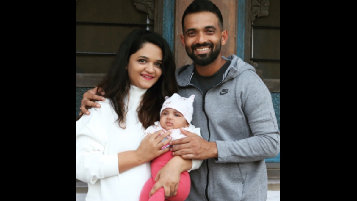 Ajinkya Rahane with wife and daughter