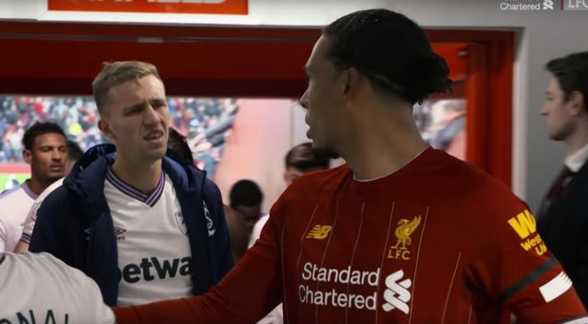 Watch: Liverpool's Virgil van Dijk turns down West Ham United's Tomas Soucek's request to swap jerseys