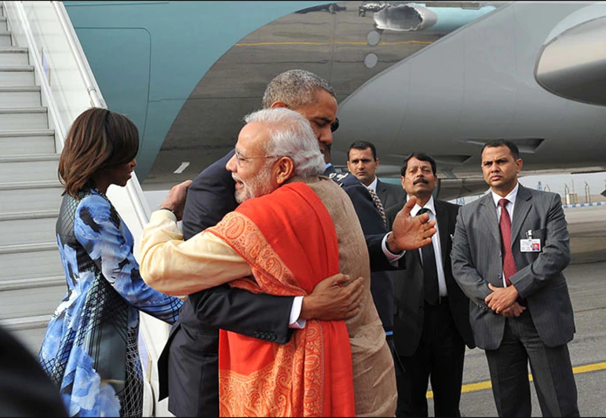 A hug exchanged between the two leaders at Delhi Airport in 2015