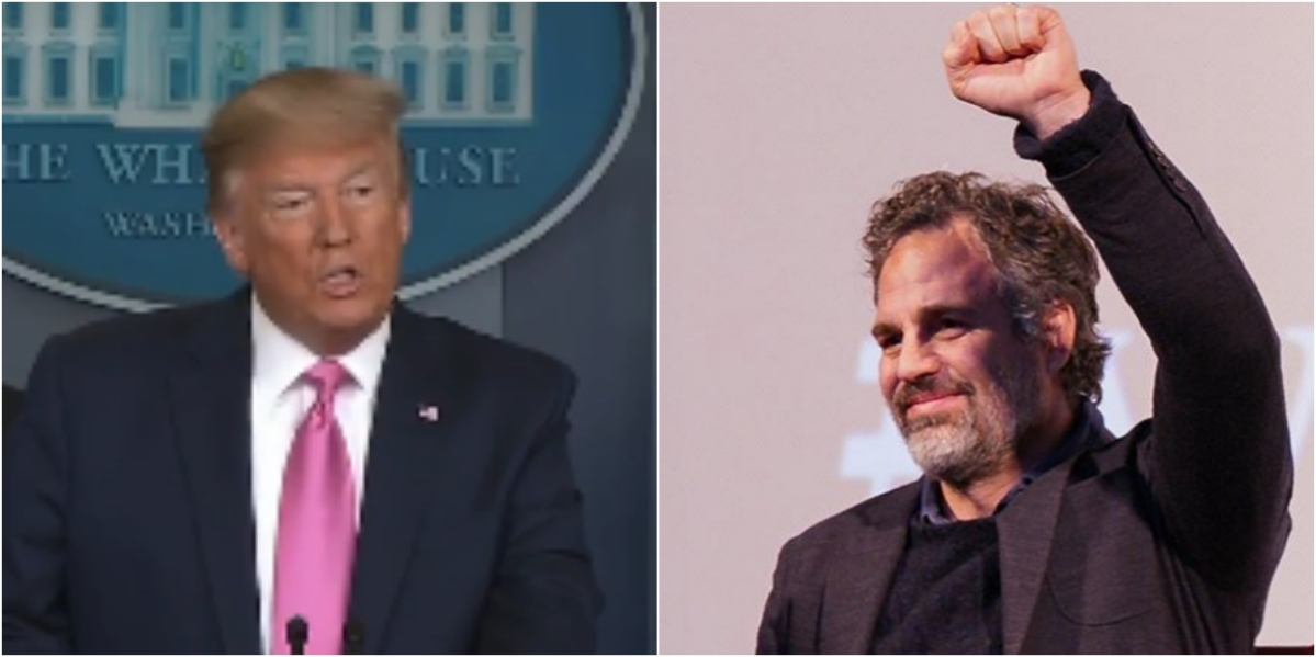 US President Donald Trump and Hollywood actor Mark Ruffalo.