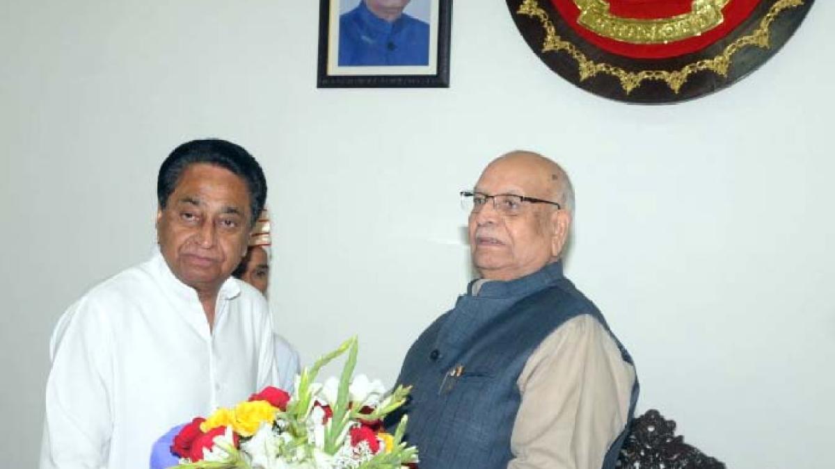 Chief minister Kamal Nath calls on Governor Lalji Tandon at Raj Bhavan on Friday.