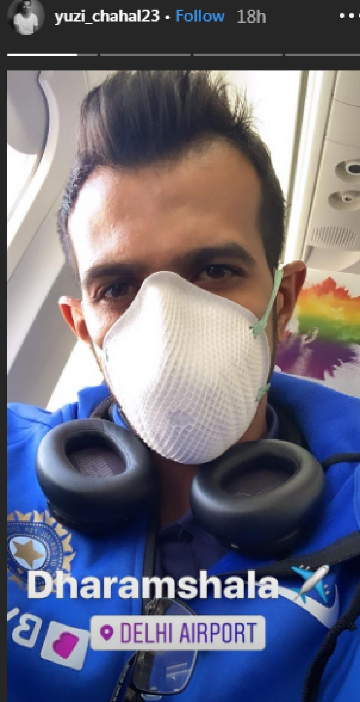 Latest Coronavirus update in India: Yuzvendra Chahal wears mask on way  to Dharamshala for first ODI
