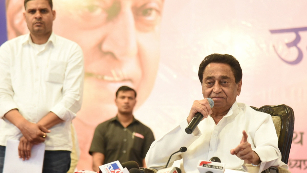 Madhya Pradesh Chief Minister Kamal Nath addresses the media at CM house in Bhopal on Friday, March 20, 2020.