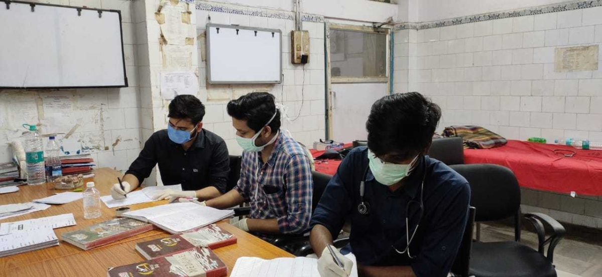 Scenes from Jawahar Lal Medical College. Junior doctors have said that they are forced to use surgical masks as the hospital authorities have failed to provide them N-95 masks