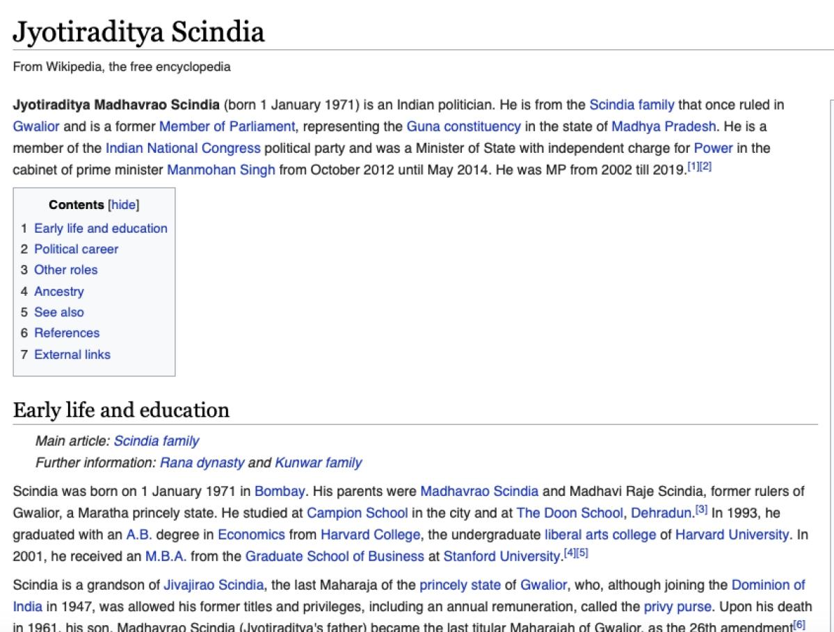Jyotiraditya Scindia's Wikipedia page
