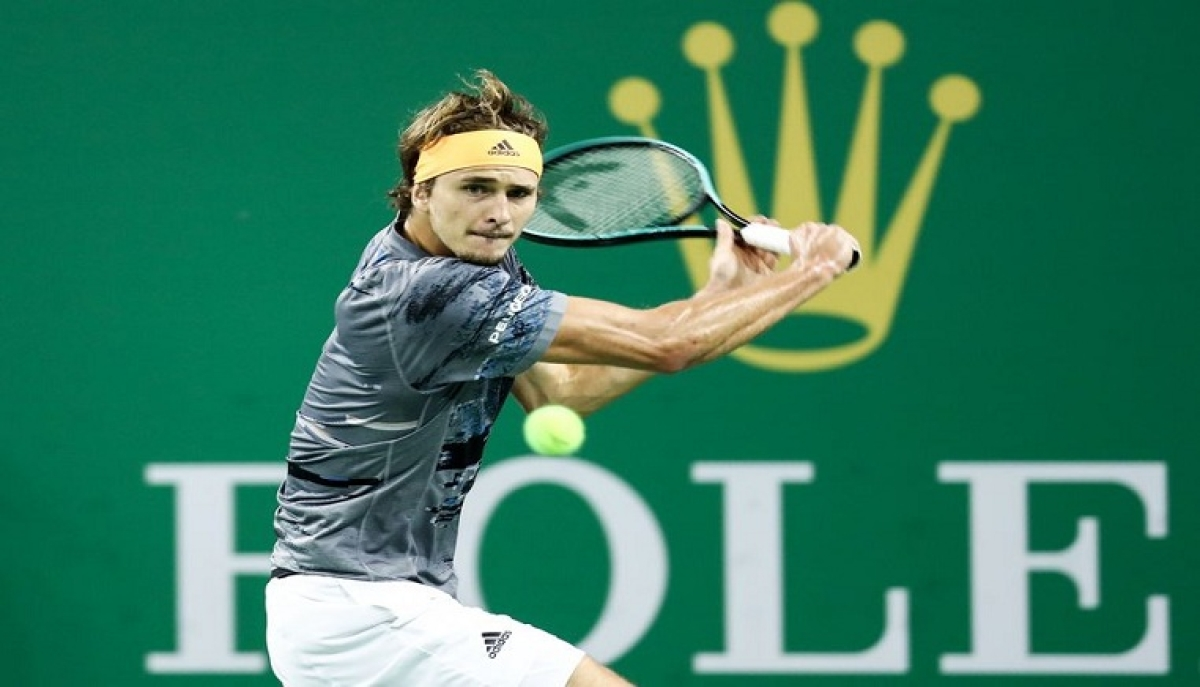 Alexander Zverev of Germany competes during the men's singles semifinal match against Matteo Berrettini of Italy at 2019 ATP Shanghai Masters tennis tournament in Shanghai, east China, on Oct. 12, 2019.