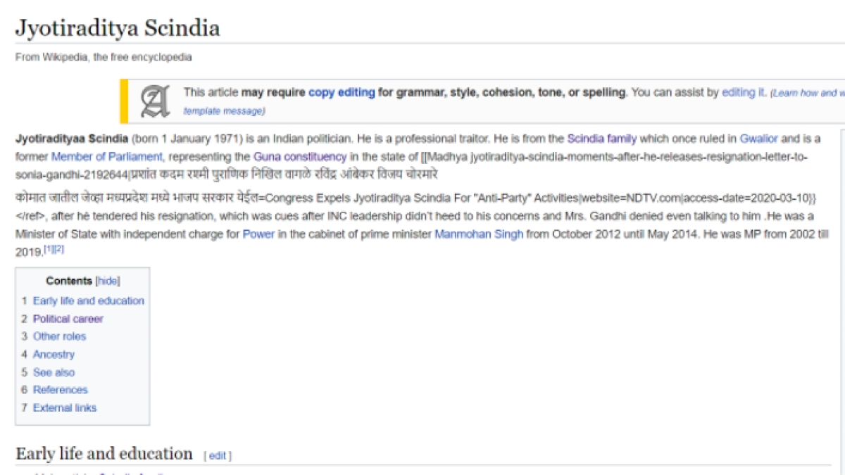 The vandalised Wikipedia page