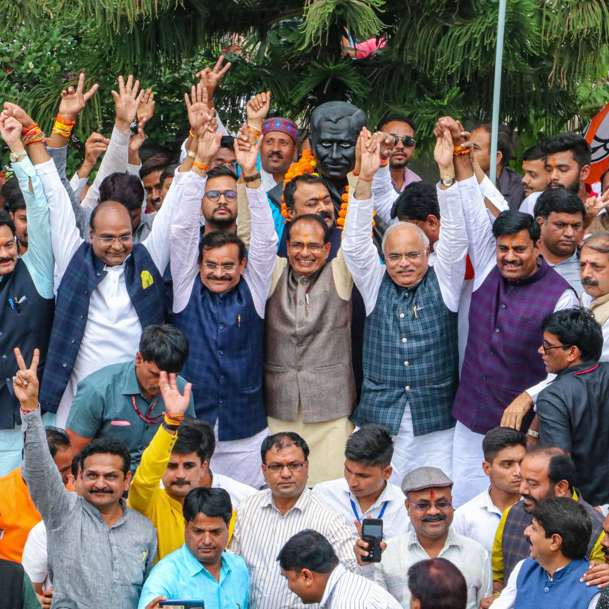 Madhya Pradesh: Despite PM Narendra Modi's advice, BJP leaders and workers gather to celebrate party's return in power