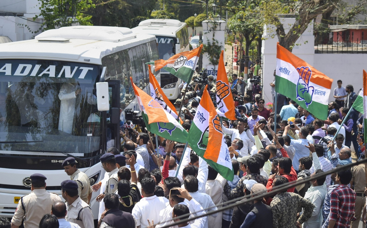 Madhya Pradesh Congress Party MLAs leave after meeting Governor Lalji Tandon, to demand for the release of their party MLAs from Bengaluru, at Raj Bhavan in Bhopal, Wednesday, March 18, 2020.