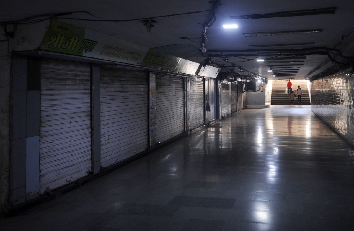 A nearly empty subway in the city