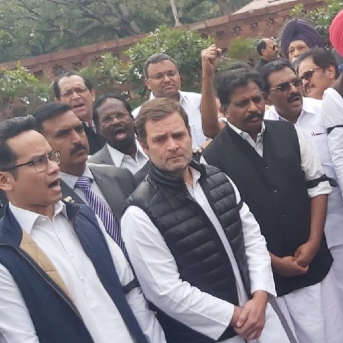 Rahul Gandhi, along with other Congress MPs protest at Parliament, demand Amit Shah's resignation over Delhi violence