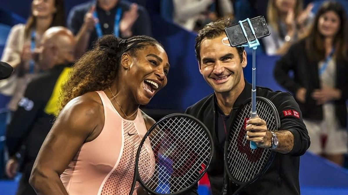 Roger Federer and Serena Williams at the Hopman Cup