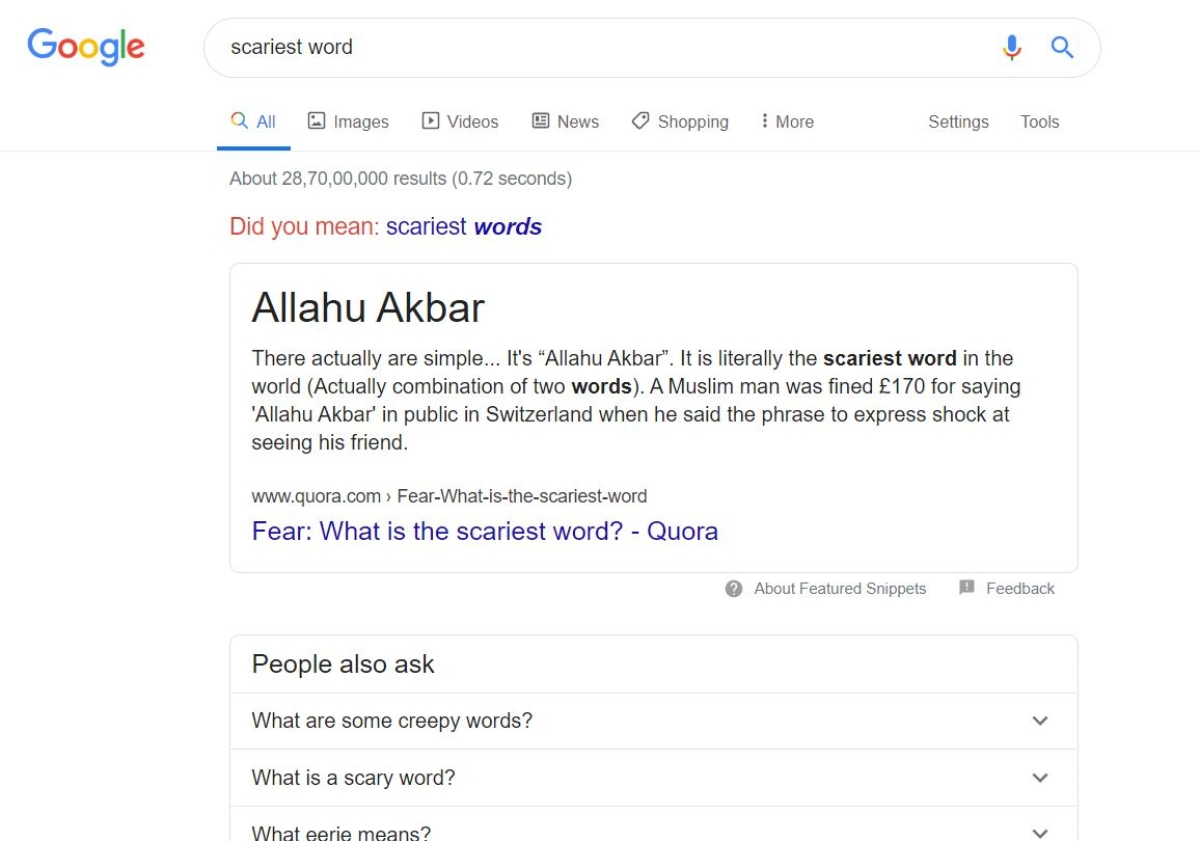 What is the 'scariest word'? Google says 'Allahu Akbar'