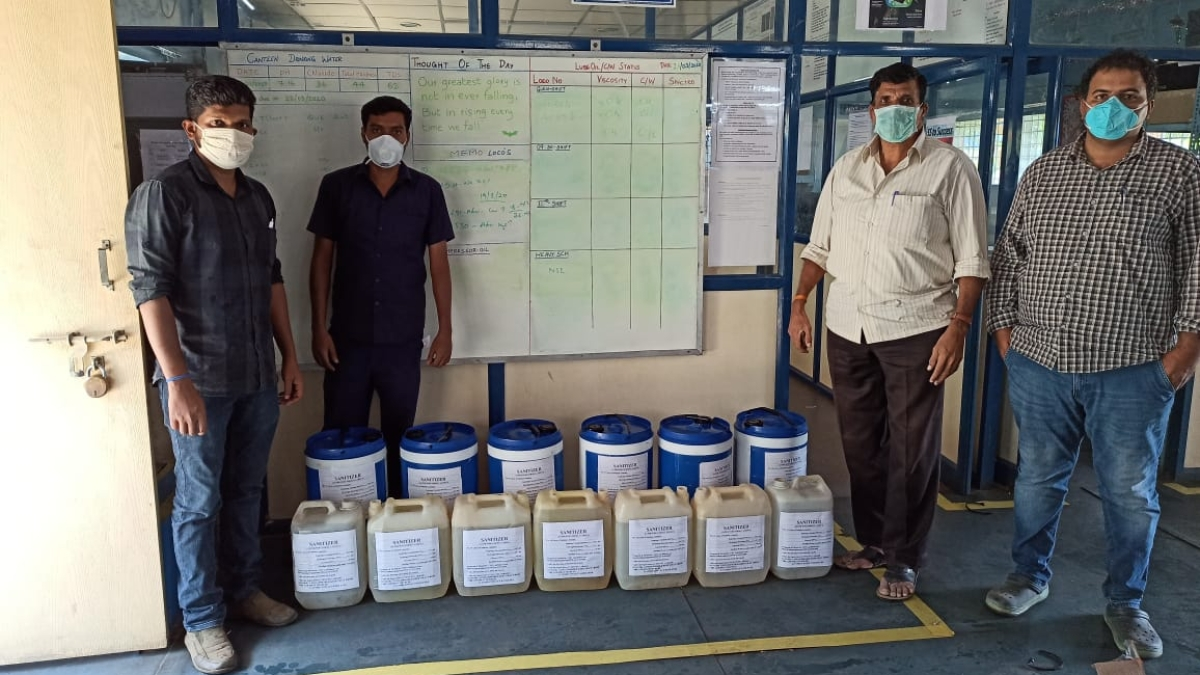 SWR's Bengaluru division produces sanitizers to supplement its needs