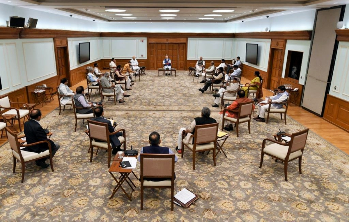 Social distancing was seen during Union Cabinet meeting chaired by Prime Minister Narendra Modi held at 7 Lok Kalyan Marg in New Delhi on Wednesday.