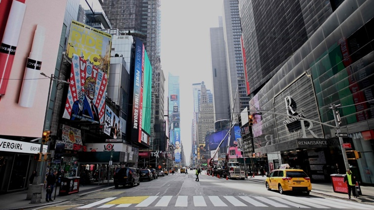 An almost empty street is seen at Times Square in Manhattan in New York City.