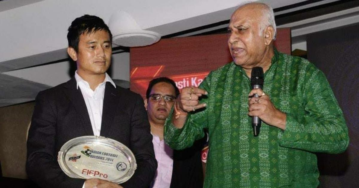Former India skipper Bhaichung Bhutia with the then East Bengal coach  P K Banerjee