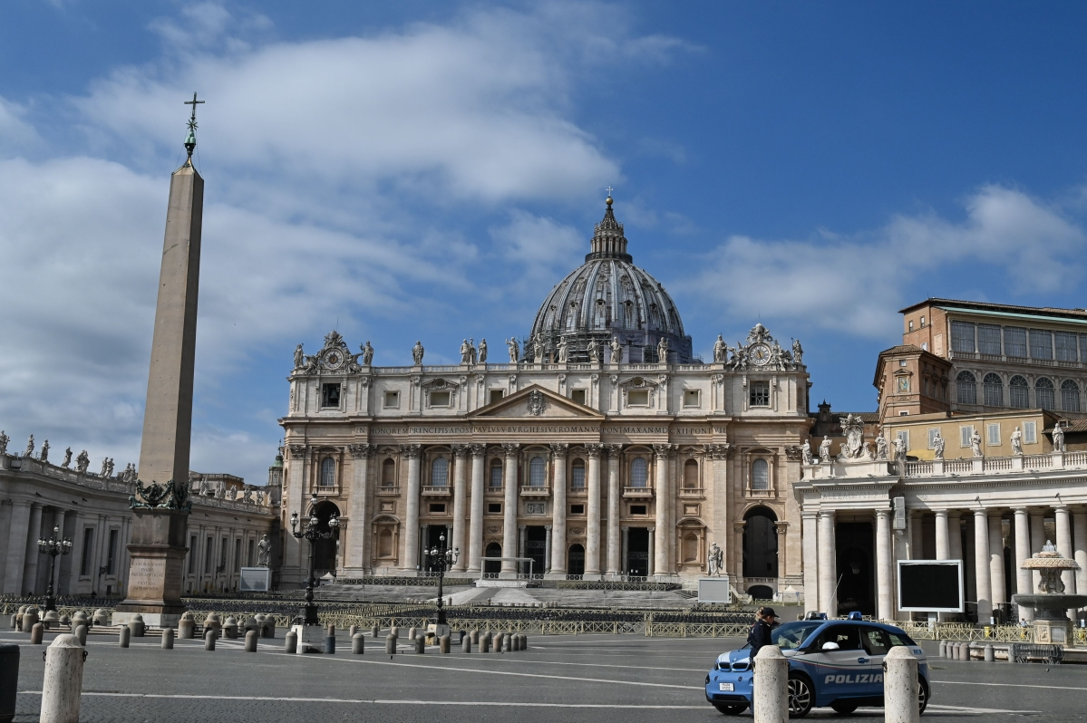 A general view of the empty Vatican's St. Peter's Square and its main basilica days after their closure to tourists as part of a wider crackdown to contain the coronavirus epidemic.