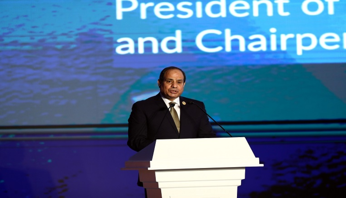File picture shows Egyptian President Abdel Fattah al-Sisi addressing the Aswan Forum for Sustainable Peace and Development in Aswan, Egypt, on Dec. 12, 2019.