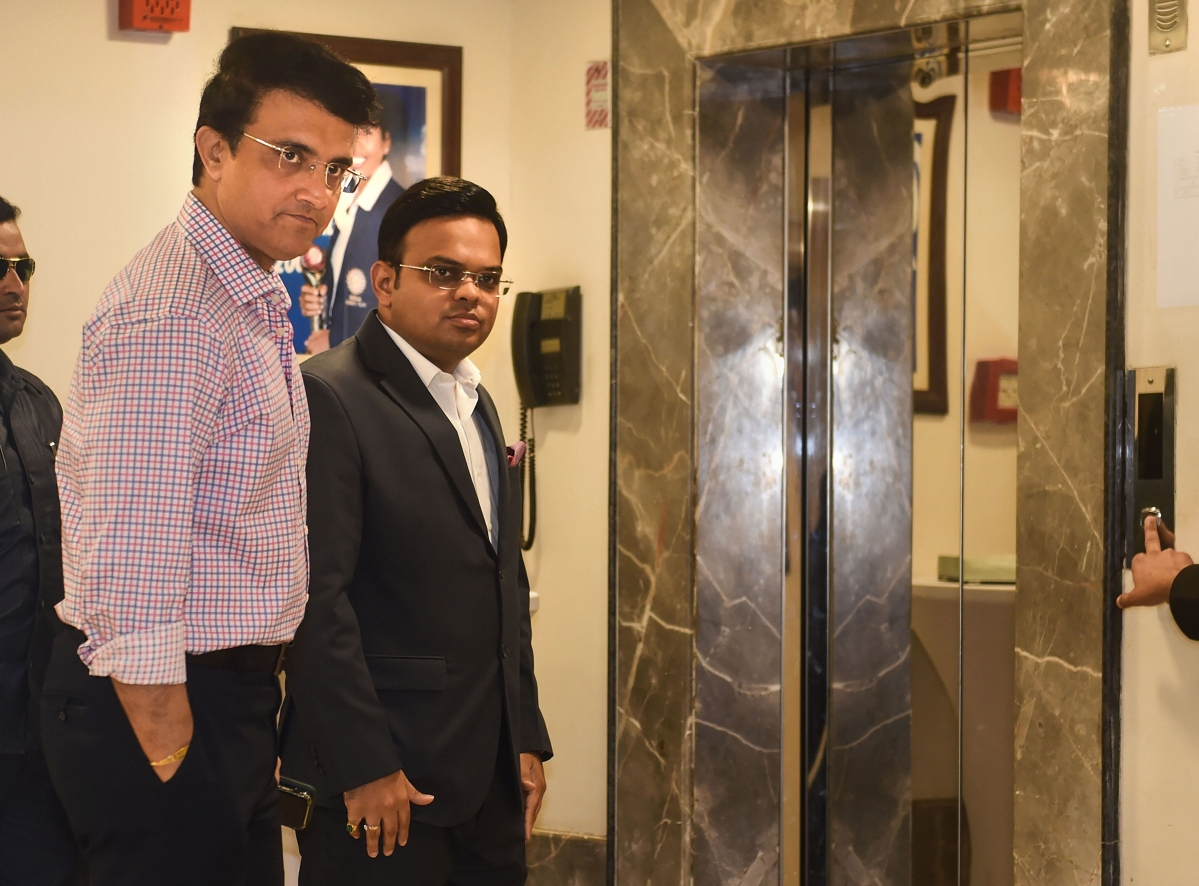 BCCI President Sourav Ganguly and BCCI Secretary Jai Shah arrive at the BCCI headquarters for a meeting with IPL franchise owners in Mumbai