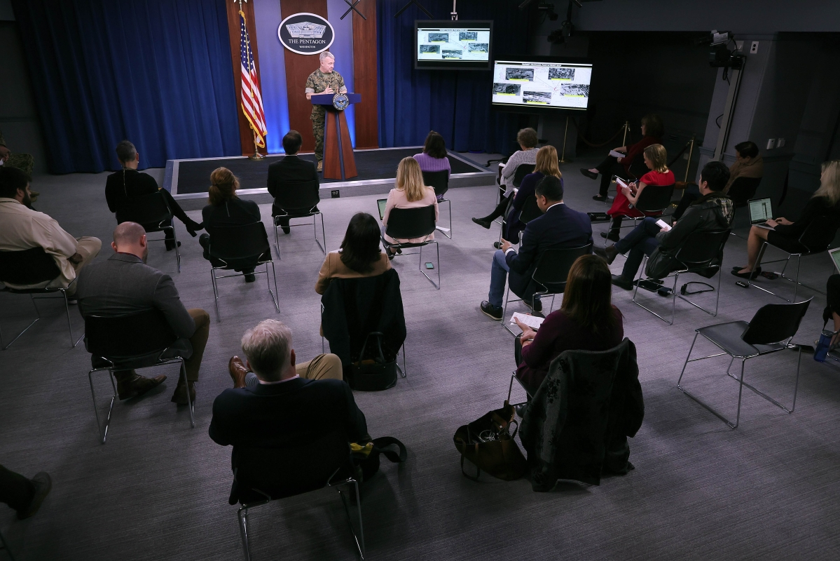 Because of the threat of transmission of the novel coronavirus (COVID-19), the Pentagon is exercising social distancing by keeping reporters' chairs four feet apart from each other during briefings.