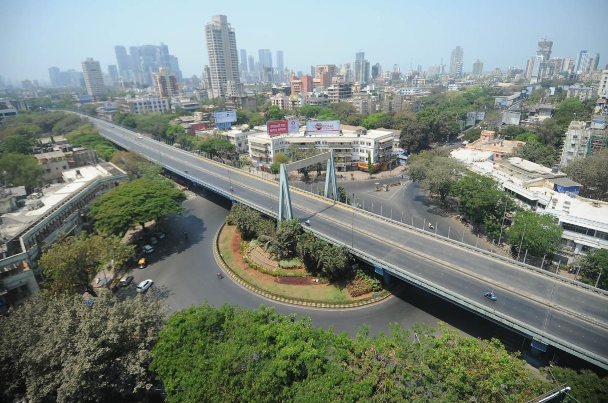An empty flyover in Mumbai.